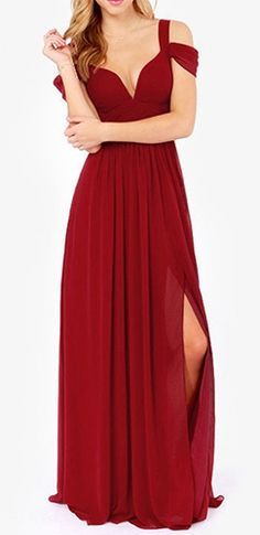 Farewell My Love Burgundy Wine Off The Shoulder Draped Sleeve V Neck Maxi Dress Evening Gown