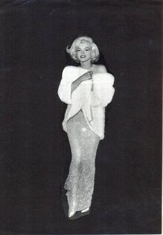 Marilyn at Madison Square Garden to sing to president Kennedy in 1962, wearing a Jean Louis beaded nude-colored gown.