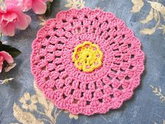 """Miss Abigail's Hope Chest: """"Vintage Rose"""" Granny Round Crocheted Dishcloth"""