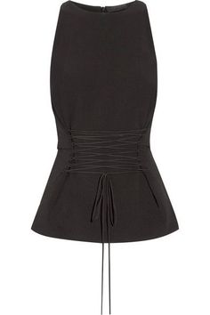 The Row - Tallo Lace-up Stretch-wool Peplum Top - Black - US10