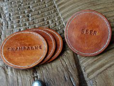 Round Leather Coaster / Set of 4 Humorous Novelty Fun / Wine / Beer / Champagne / Healthy Drink / Brown with Natural Stitching