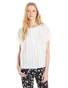 French Connection Womens Polly Pleats Short Sleeve Top Summer White Small *** Be sure to check out this awesome product.-It is an affiliate link to Amazon. #fashiontopstees