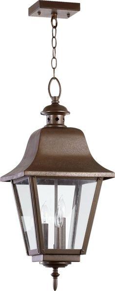 """0-025661>24""""""""h Bishop 3-Light Outdoor Hanging Pendant Oiled Bronze"""