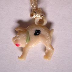 Pig Celluloid Cracker Jack Charm by MDHcrafts on Etsy, $4.00