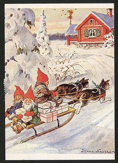Vintage Swedish Xmas / Yule card, original by Jenny Nyström A sledge drawn by 2 tabby & white cats with blue ribbons and bows around their necks, and on the sledge, three Robin Goodfellow creatures with some Yule gifts. Old Christmas, Vintage Christmas Cards, Christmas Images, Vintage Cards, Christmas Crafts, Most Popular Artists, Dashing Through The Snow, Mythological Creatures, Flower Fairies