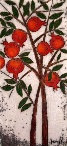 armenian tattoo--Pomegranate Tree Ceramic Wall Art by derinmavibodrum on Etsy Pomegranate Pictures, Pomegranate Art, Pomegranate Drawing, Expensive Art, Ceramic Wall Art, Jewish Art, Tree Art, Botanical Art, Home Design
