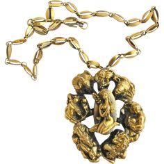 Vintage Tortolani Huge Zodiac Pendant Necklace
