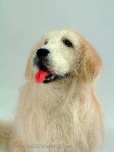 Golden Retriever, needle felted figurine
