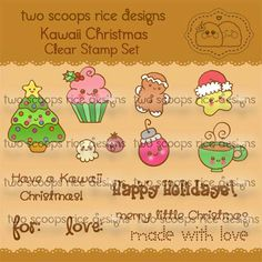 Kawaii Christmas Set Clear Stamp by KittyBeeDesign on Etsy