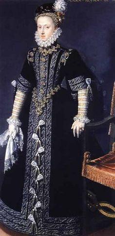 Anne of Austria, Queen of Spain (1549-80), Wife of Philip II of Spain (1527-98), by Juan Pantoja de la Cruz (Spanish painter, 1553-1608)