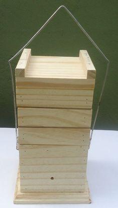 Colméia para abelhas Mirins e outras espécies Modelo vertical com alça 10 x 10…
