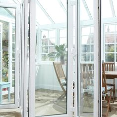 Bi-Fold Doors connecting living room with conservatory Conservatory, Windows, Patio, Doors, Living Room, Furniture, Link, Home Decor, Winter Garden