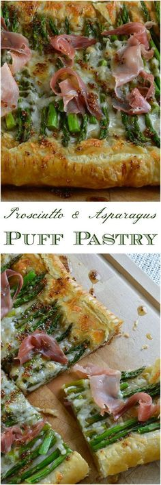 This Asparagus and Prosciutto Puff Pastry is perfect as an appetizer or meal! A simple recipe with flavorful ingredients. Golden puff pastry topped with fresh asparagus, cheese, prosciutto and a drizzle of honey mustard sauce!
