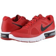 Nike Air Max Sequent (Gym Red/White/Black/Metallic Hematite) Men's... ($100) ❤ liked on Polyvore featuring men's fashion, men's shoes, men's athletic shoes, mens red athletic shoes, black and white mens shoes, mens breathable shoes, mens running shoes and mens athletic shoes