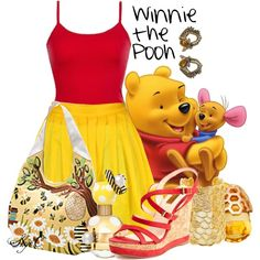 """Winnie the Pooh - Summer - Disney"" Outfit ♡ by rubytyra Disney Character Outfits, Cute Disney Outfits, Disney Themed Outfits, Character Inspired Outfits, Disney Dresses, Cute Outfits, Disney Clothes, Modern Disney Outfits, Moda Disney"