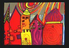 Hundertwasser Postkarte WARTENDE HÄUSER kaufen