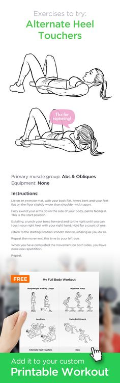Alternate Heel Touchers – a great exercise for your abs and obliques. ✸ Add it to your custom printable workout at http://WorkoutLabs.com!
