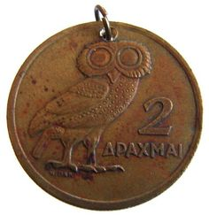 etsy.com 1973 Greece 2 Drachma Old Greek, Ancient Greek, Beyond Blue, Athena Goddess, Owl Charms, Greek Life, My Heritage, Coin Collecting, Crete
