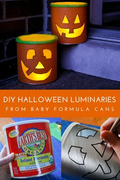 DIY Halloween luminaries from recycled baby formula cans! You can also make these cute and cheap Halloween decorations from oatmeal containers. Scary Halloween Crafts, Diy Halloween Luminaries, Halloween Mason Jars, Cheap Halloween Decorations, Dollar Store Halloween, Halloween Party, Halloween Buckets, Halloween 2019, Halloween Ideas