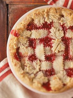 Love the maple leaf pie crust added on this lattice Cherry Pie, would be so yummy in seasonal rhubarb and strawberry too!