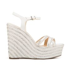 Monicah Metallic Woven Wedge (£170) ❤ liked on Polyvore featuring shoes, sandals, woven sandals, rubber sole shoes, woven shoes, woven wedge sandals and metallic shoes
