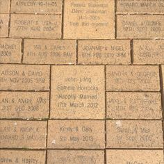 """Anvil Halls """"Path Of Love"""", this is displayed in front of the doors to the ailse, it is paved with names of past couples who have been married here at Anvil Hall"""