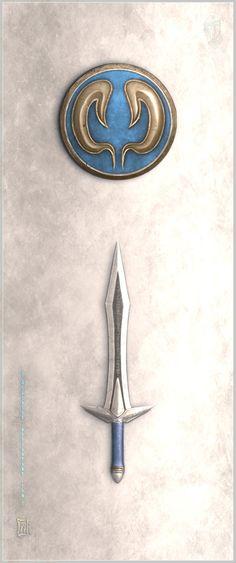 Omega Sword and Elk Shield by Aikurisu