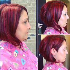 bob with crimson highlights