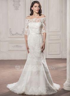 Trumpet/Mermaid Off-the-Shoulder Court Train Satin Lace Wedding Dress (002058786) - JJsHouse