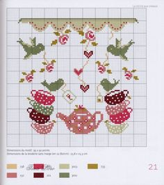 Tea set with birds pattern / chart for cross stitch, alpha pattern, crochet… Cross Stitch Kitchen, Cross Stitch Love, Cross Stitch Flowers, Cross Stitch Charts, Cross Stitch Designs, Cross Stitch Patterns, Cross Stitching, Cross Stitch Embroidery, Embroidery Patterns