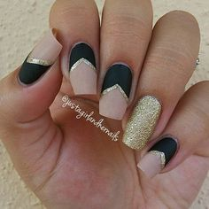 Matte Black and Nude Nails with Gold Details