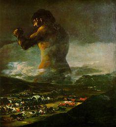Título: El coloso (1808-1812), también denominado El gigante, El pánico y La tormenta. Es un cuadro tradicionalmente atribuido a Francisco de Goya en el que un gigante de tamaño colosal se yergue tras unos montes.  Fué «casi con toda seguridad» obra del pintor Asensio Juliá, amigo y colaborador del maestro aragonés. Es de la época del Romanticismo.