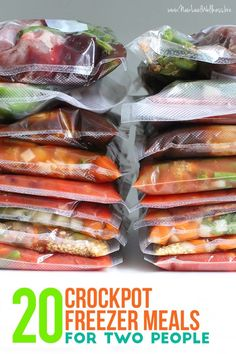 20 Crockpot Freezer Meals for Two People. Free printable recipes and grocery list!
