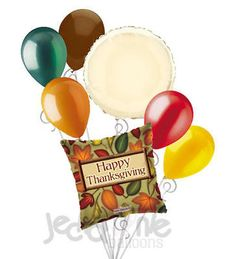7 pc Fall Leaves Happy Thanksgiving Balloon Bouquet Party Decoration Autumn Leaf