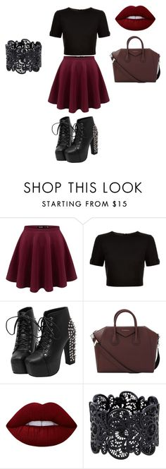 """""""Dark Red/Gothic chic look"""" by zoellabae on Polyvore featuring Ted Baker, Givenchy, Lime Crime and faveoutfitoftheday"""