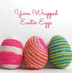 Yarn Wrapped Easter Eggs, a new way to decorate your Easter eggs by wrapping them with colorful yarn. Also a fun craft idea for kids. A free tutorial from FiberArtsy.com