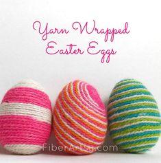 Yarn Wrapped Easter Eggs | FiberArtsy.com
