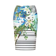 Clover Canyon Printed Neoprene Skirt ($125) ❤ liked on Polyvore featuring skirts, bottoms, gonne, multi, flower print pencil skirt, floral knee length skirt, floral print skirt, floral printed skirt and knee length pencil skirt