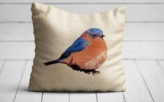 Bluebird Pillow Blue Bird Pillows Flour Sack Fabric Farmhouse Pillow Grain Sack Fabric Burlap Bluebirds Gifts For Bird Lovers Vintage Gift