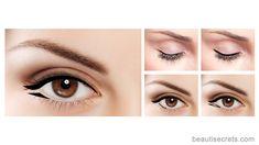 Winged eyeliner for protruding eyes - Winged liner - - Unique Eye Makeup - Eye Makeup Winged Eyeliner Tutorial, Simple Eyeliner, Perfect Eyeliner, How To Apply Eyeliner, Winged Liner, Eyeliner Hacks, Eyeliner Styles, Eyeliner Ideas, Eyeliner Brands