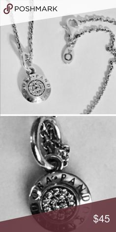 "PANDORA SIGNATURE NECKLACE not Pendant, but dangle Signature dangle on Pandora 20"" chain new Pandora Jewelry Bracelets"