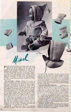 PAR AMOUR DES POUPEES :: M&T 1956-01 ensemble capuche-moufles-bottillons pour Michel (tricot)