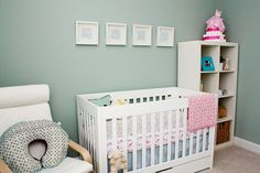 "Adrienne, of Project Nursery, says ""As much as I love modern prints and bold colors, the powdery hues in this nursery make me smile. The nursery looks so fresh and inviting."""