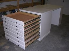 Build Plans-flat File, Scrapbooking, Or Craft Cabinet, Bookcase, Worktable