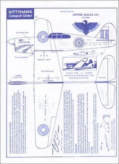Make your own balsa 'plane instructions (or print out and have a cool paper 'plane! Paper Airplane Models, Model Airplanes, Paper Models, Paper Toys, Paper Crafts, Balsa Wood Models, Paper Aircraft, Paper Plane, Aircraft Design