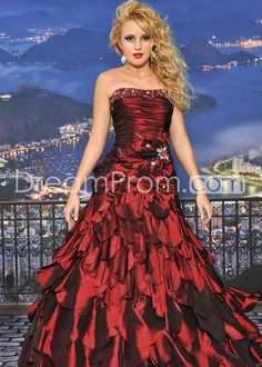 Floor-Length Pleats Strapless Prom/Quinceanera/Ball Gown Dresses
