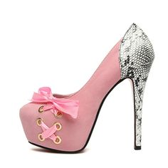 pink bow pumps