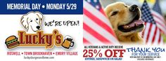 🇺🇸 🇺🇸 🇺🇸 Lucky's Burger & Brew Brookhaven honors our servicemen and women on #MemorialDay, Monday 5/29! All veterans and active duty enjoy 25% off entrée, with ID. Grab your pal and pups! It's officially #SummerGoLuckys!