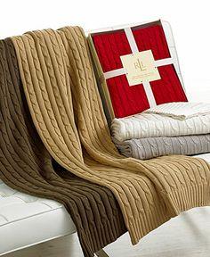 Lauren Ralph Lauren Cable Knit Throw - Lauren Ralph Lauren - Bed & Bath - Macy's