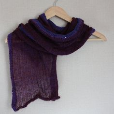 Sheer rib knit purple mohair shawl scarf with crochet sequin border and rolled ends